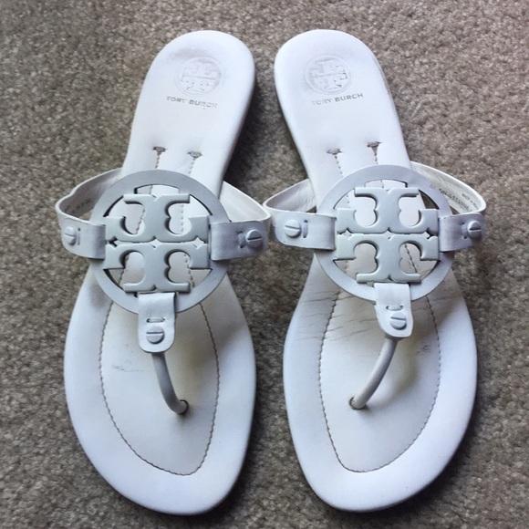 ec8f24423 Tory Burch Miller 2 White Sandals size 8.5 M Auth.  M 5af9ac7e33162798bb1acb72